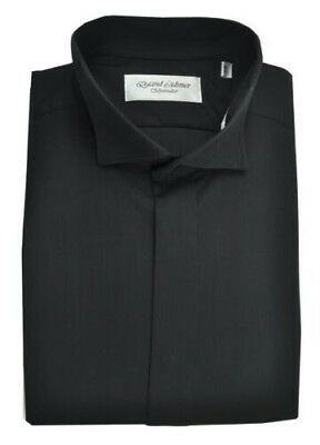 David Latimer Mens Fly Front Swept Wing Collar Dress Shirt in Black