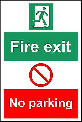 Fire exit no parking safety sign