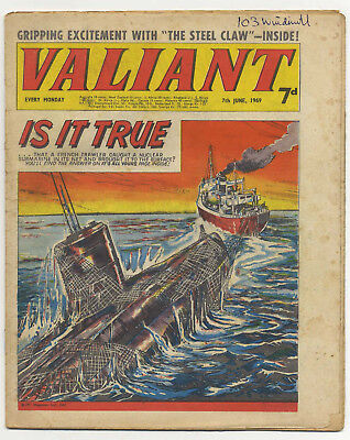 Valiant 7th June 1969 (mid-high grade) Steel Claw, Billy Bunter, Kelly's Eye