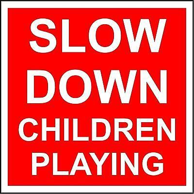 Slow down children playing sign