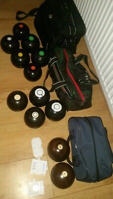 Used crown green bowls with measures and scorecard and bags joblot