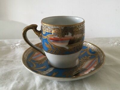 Japanese Vintage Peacock Chinaware Demitasse Hand Painted Coffee Cup & Saucer