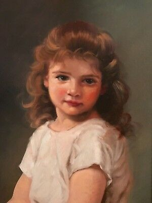 Barnes Oil Painting Vintage Antique Style Portrait Cherub Angel Bouguereau Girl