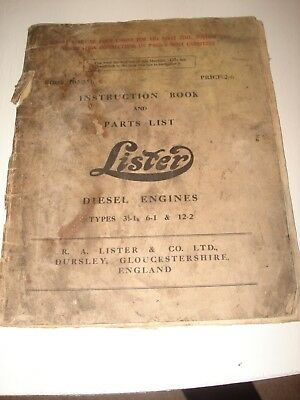 Lister diesel CS 31/2-1,6-1,12-2 STATIONARY ENGINE OPERATORS + PARTS MANUAL