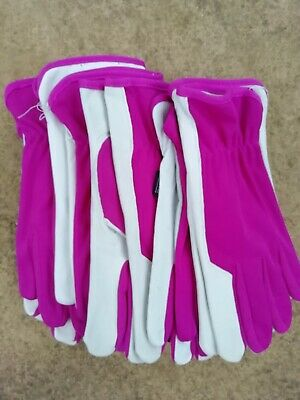 Briers Ladies Soft & Strong Leather Garden Gloves, Medium size 8 x 6 pairs Pink