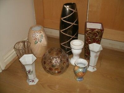 JOB LOT OF VASES  (8) + GLASS BOWL (1) - One extra vase added