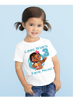 Baby Moana Girls Personalised Birthday t-shirt Ideal Gift / Present