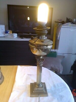 "Vintage Large Brass Corinthian Column Oil Base Lamp Working 21""  High"