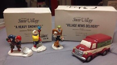 2 Department 56 A Heavy Snowfall & Village News Delivery Original Snow Village