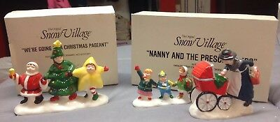 2--Department 56 Nanny & Preschoolers, Going To Christmas Pageant Snow Village
