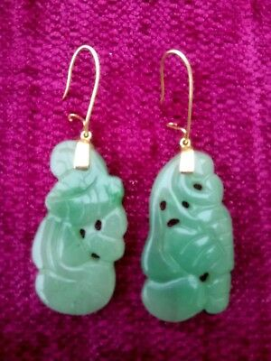 Stunning, Long, Chinese 14Ct Gold Earrings/carved Jade
