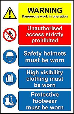 Site Safety Dangerous Work In Operation PPE Must Be Worn Safety Sign