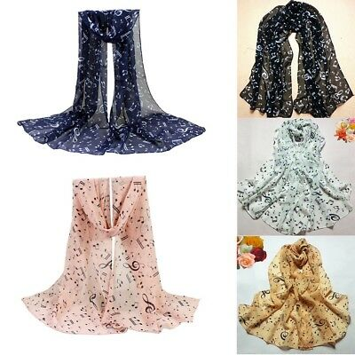 1PC Women Musical Note Chiffon Neck Scarf Shawl Muffler Long Scarves Gifts