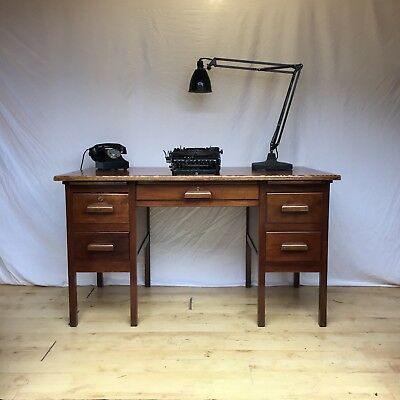 1950s 1960s Oak & Teak old School Teachers Vintage Antique Desk