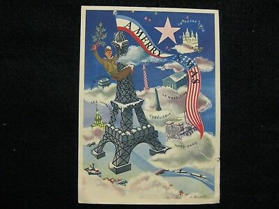 Wwii 1944 U.s. Soldier On Eiffel Tower Paris Christmas Card To Family At Home