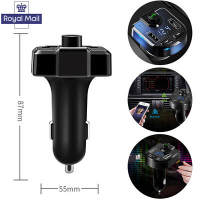UK Bluetooth LCD Wireless Car MP3 FM Transmitter Radio USB Charger Handsfree Kit