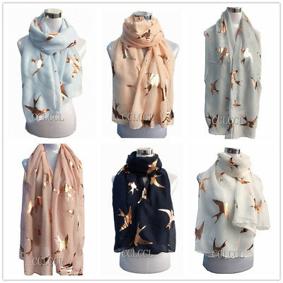 Ladies Big Swallow Soft Scarf with Rose Gold Foil Big Swallow Bird Metallic GIFT