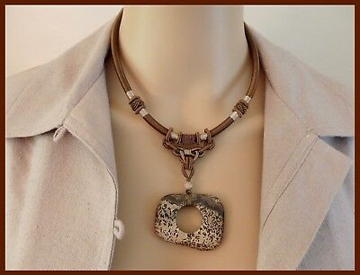 Vtg Chinese Knotted Silk Brown Asymmetrical Stone Infinity Pendant Bead Necklace