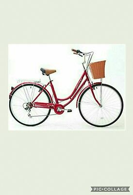 """mars ladies red heritage bike Dutch style with basket and warranty 17"""""""