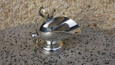 Vintage Silver Plated Floral Hand Engraved Sugar Scuttle  & Scoop