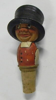 vintage man with 2 faces in top hat ANRI (?) handcarved wood bottle cork stopper