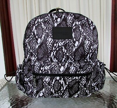 BEBE BECCA Double Entry Laptop Backpack Snake Travel Large School Bag NWT