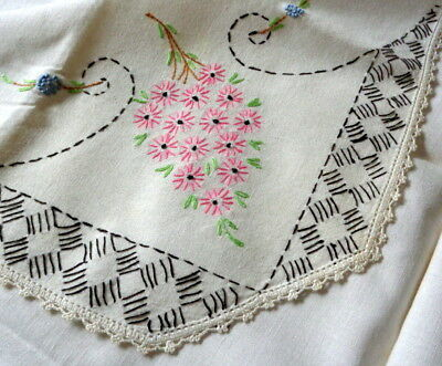 """Vintage Hand Embroidered Square Tablecloth 32"""" x 35"""" Crocheted Edging Pink Daisy"""