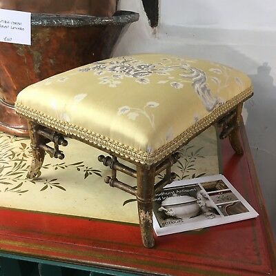 Regency Gilt Faux Bamboo Footstool in Yellow Silk