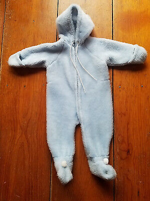 Cute fluffy blue vintage hooded baby sleeper 9-18 mos. Excellent Condition