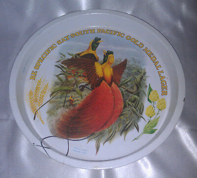 South Pacific Gold Medal Lager metal tray bird of paradise retro Willow barware