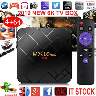 MX10MAX 4+64G 6K Android 9.0 Pie Quad Core Smart TV BOX WIFI 3D Media Player USB