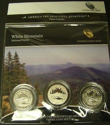2013 WHITE MOUNTAIN 3-COIN ATB QUARTER SET  US MINT P-D-S Proof National Forest
