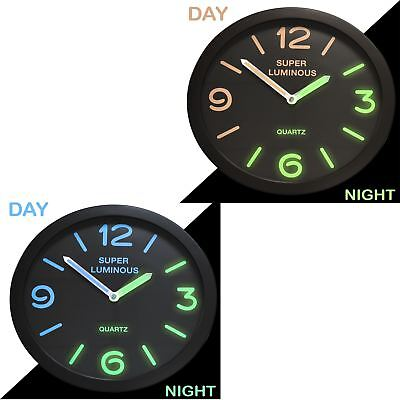 "New 10"" Glow In The Dark Wall Clock Hanging Bedroom Home Office Quartz Round"