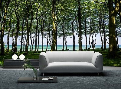 Forest Road to the Sea Wall Mural Photo Wallpaper GIANT WALL DECOR Paper Poster