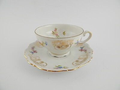 Antico Raro Set Te' Tazza + Piatto Porcellana Bavaria Seltmann Theresia Floreale