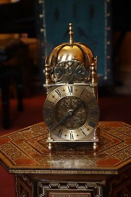 Vintage Smith's brass lantern clock, quartz movement, beautiful condition