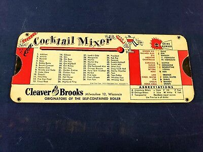 Vtg Cocktail Mixer Slide Rule Mixed Drink Guide Cleaver Brooks Advert Pre1950s