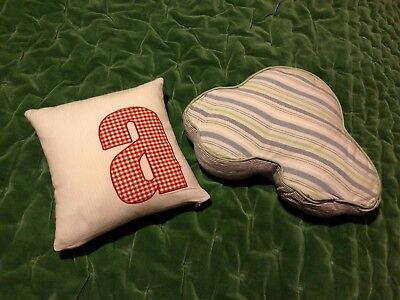 mamas and papas baby boys 2x cushion, car shaped and letter A nursery decoration