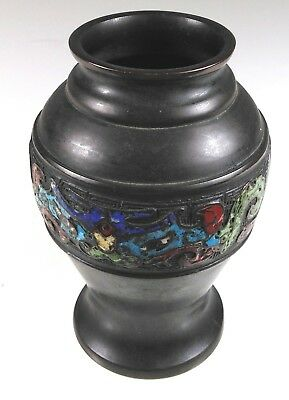 Antique Japanese Enamel Bronze Vase