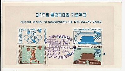 Official Korea FDC 1960 Olympics Sc # 309-10 Only 10,000 Made