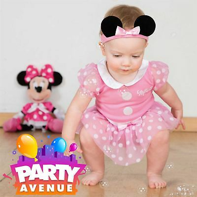 Official Minnie Mouse Baby Toddler Pink Fancy Dress Bodysuit