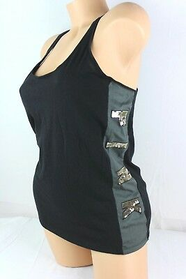 Victoria Secret PINK Tank Top Black Gray Lace Up Low Open Back Sleeveless