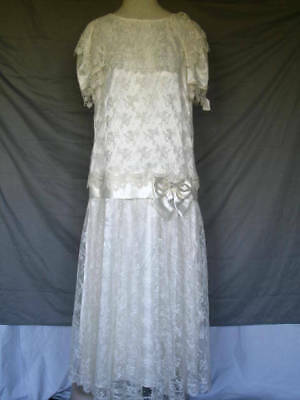 1920's Great Gatsby Art Deco Style Ivory Lace Wedding Dress Gown