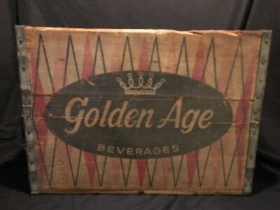 "Vintage 17""L 1972 ""golden Age Beverages, 12-32 Oz Bottles"" Wooden Box/crate"