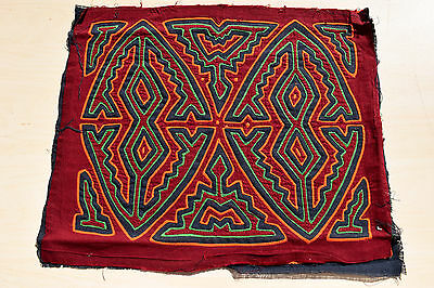 VINTAGE MOLA FROM PANAMA -  GEOMETRICS 1 of 2 - FROM SAN BLAS IS. KUNA INDIANS