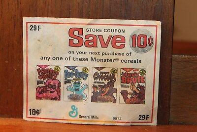 Circa 1974 Monster Cereals Coupon Fruit Brute Boo Berry Chocula Franken Berry