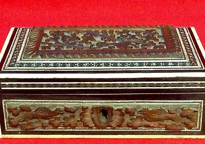 Antique / Vintage Persian / Middle East Hand Carved Wood Box, Ebony & Bone Inlay