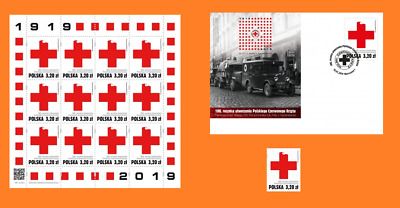 2019 Poland Polen  sheet + FDC + stamp 100 years of Polish Red Cross