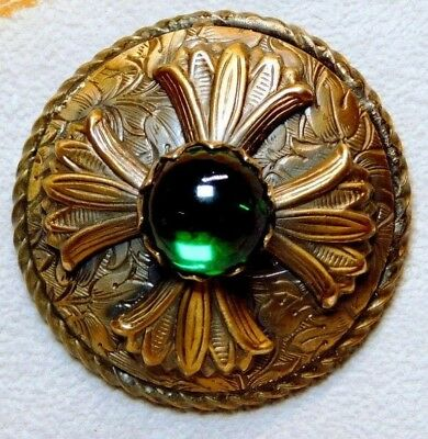 LARGE Antique Vtg Button VICTORIAN Brass Jewel with GREEN Glass Ball  D99