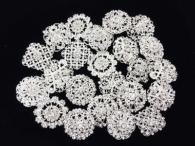 10 Silver Rhinestone Brooch Rhinestone Embellishment Button Brooch Bouquet